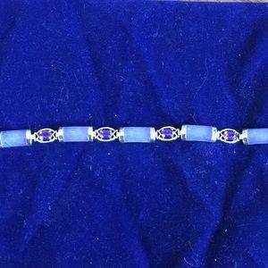 Vintage lavender jade and amethyst Bracelet